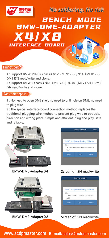 [UK Ship]Yanhua ACDP BMW-DME-Adapter X8 Bench Interface Board for N45/N46 DME ISN Read/Write and Clone
